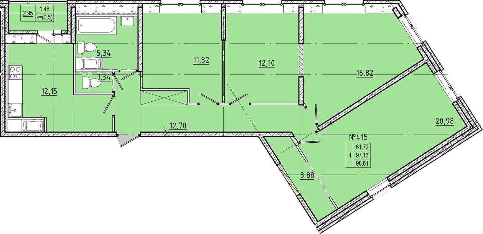 4-к.кв, 98.61 м²