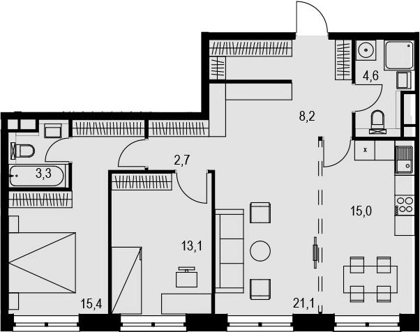 4Е-к.кв, 83.4 м², 17 этаж