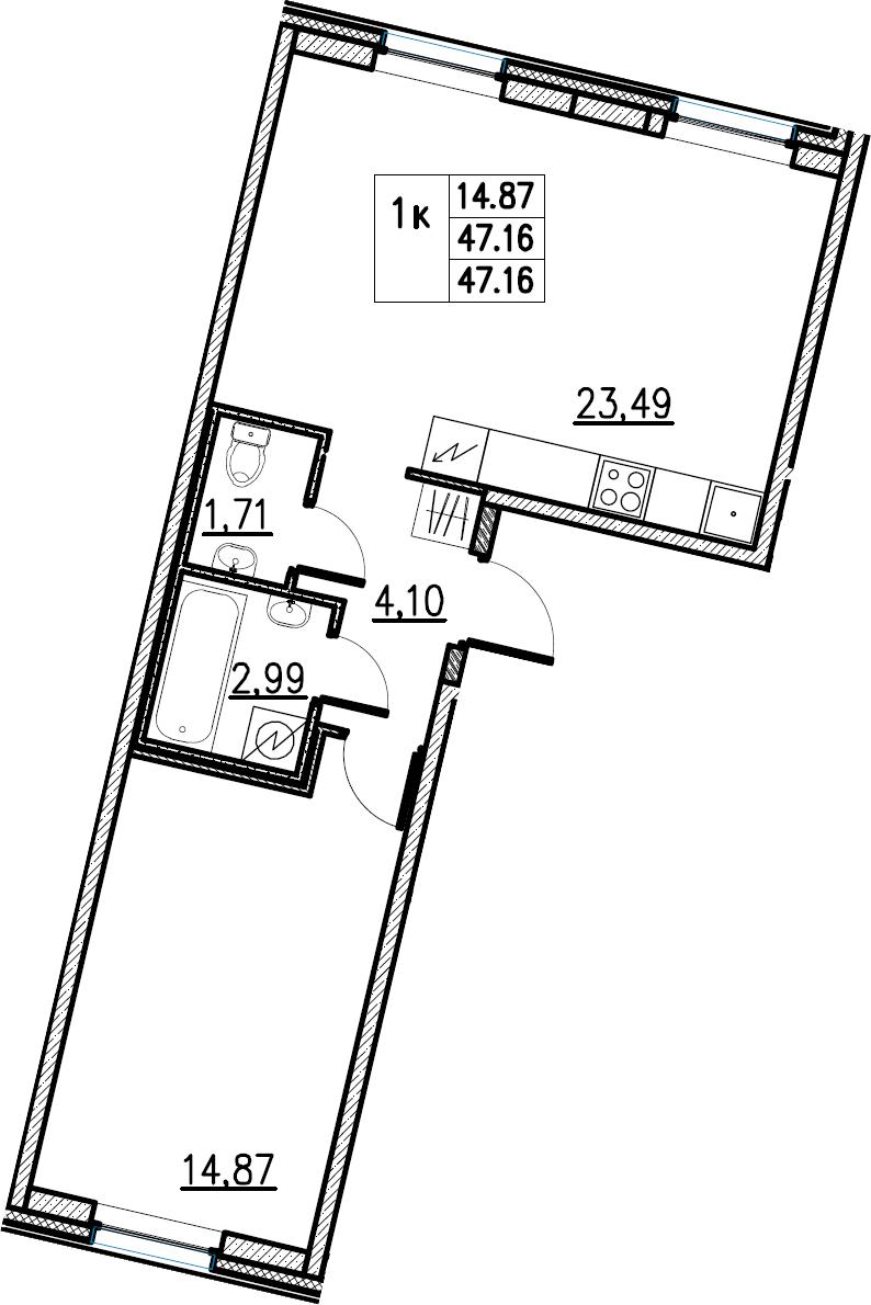 2Е-комнатная, 47.16 м²– 2
