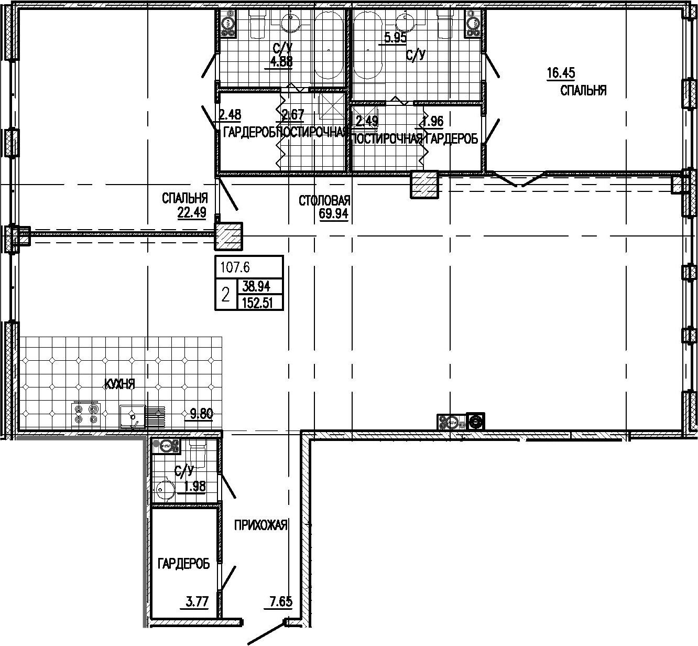 3Е-комнатная, 152.51 м²– 2