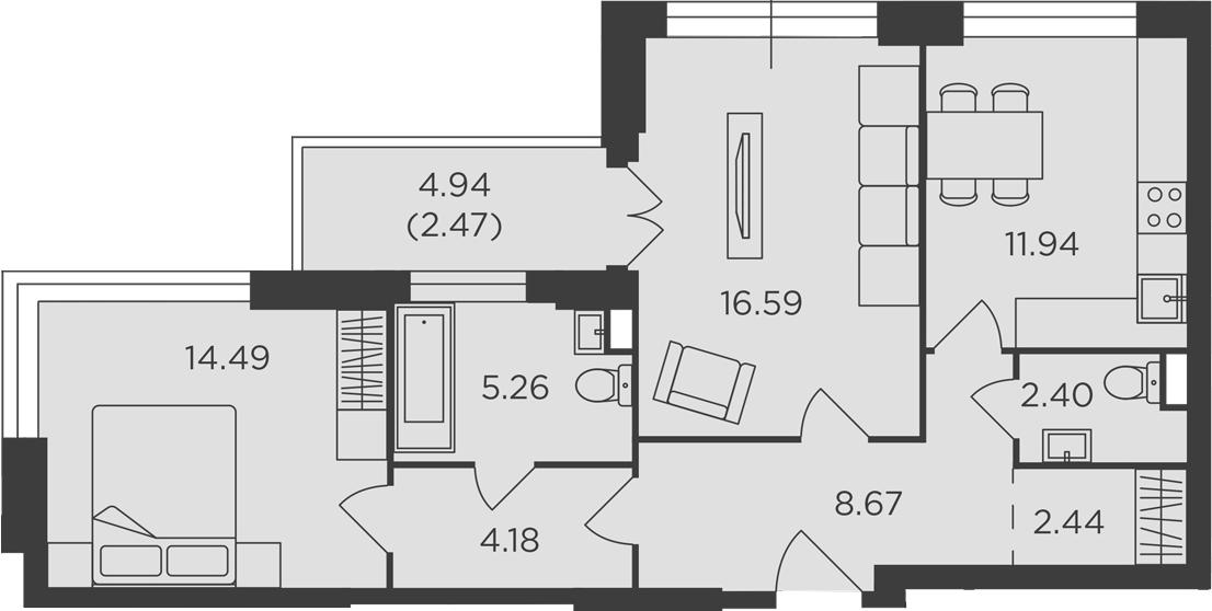 2-к.кв, 68.44 м², 2 этаж