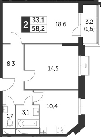2-комнатная, 58.2 м²– 2