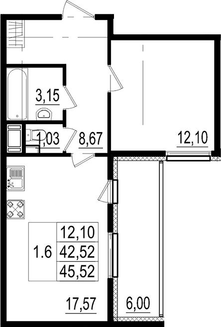 2Е-комнатная, 42.52 м²– 2