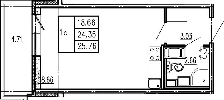 Студия, 29.06 м²