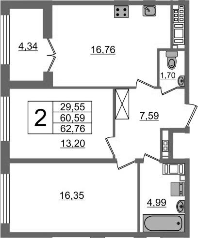 3-к.кв (евро), 64.93 м²