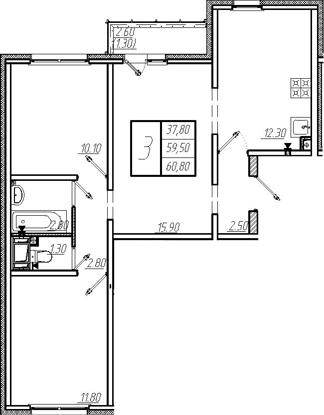 3-к.кв, 60.8 м²