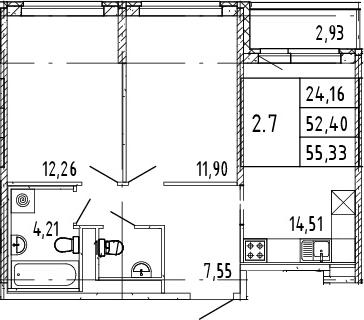 3Е-комнатная квартира, 53.87 м², 11 этаж – Планировка