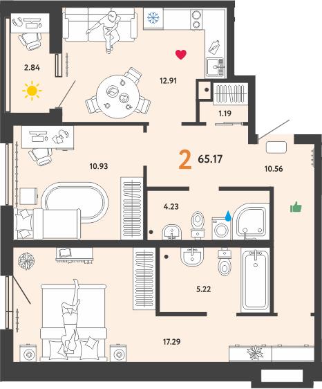 2-к.кв, 65.17 м²