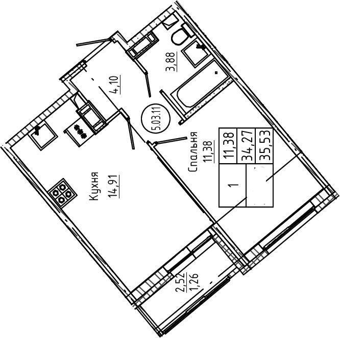 1-к.кв, 35.53 м², 3 этаж