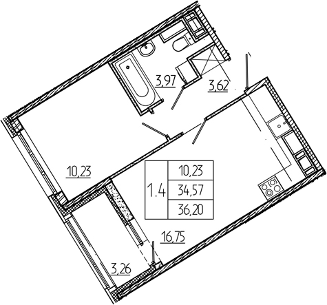 2Е-к.кв, 34.57 м², 2 этаж