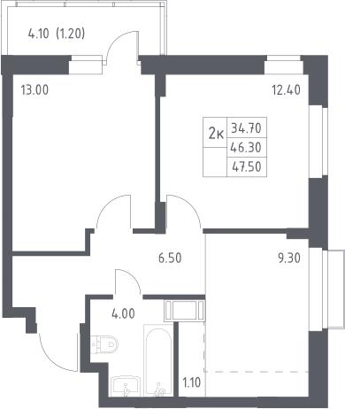 2-к.кв, 47.5 м²
