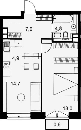 2Е-комнатная, 49.5 м²– 2