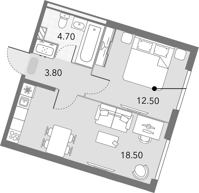 2Е-к.кв, 39.5 м², 2 этаж