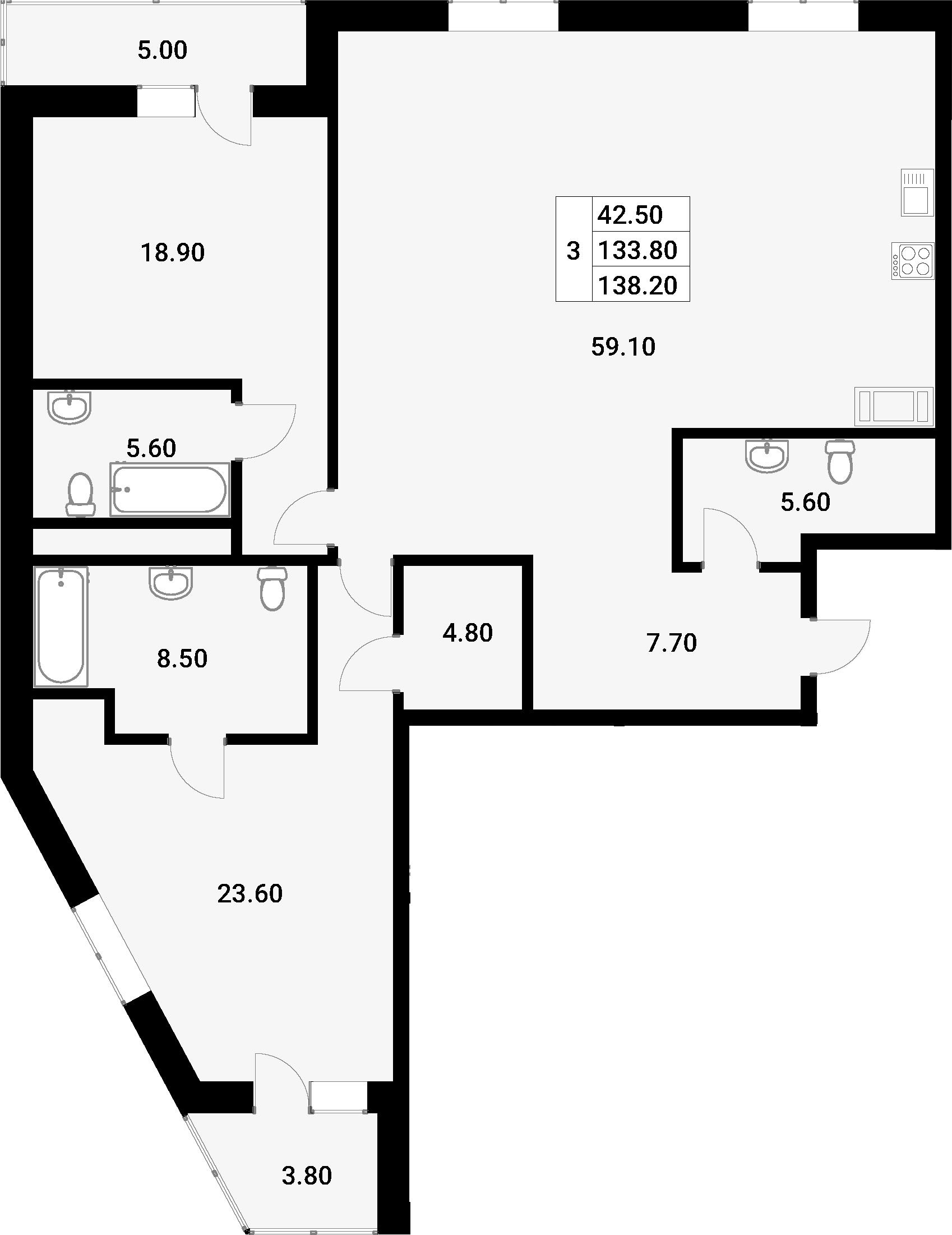 3-к.кв (евро), 142.6 м²