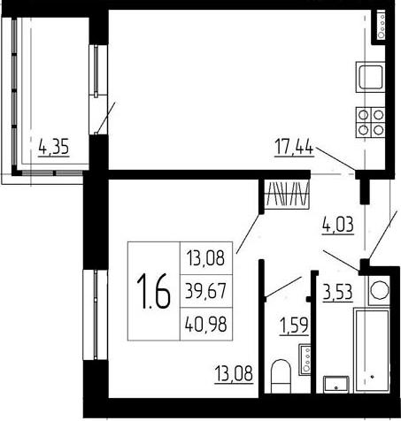 1-к.кв, 39.67 м²