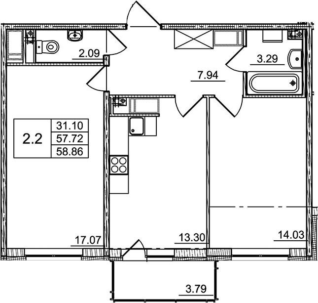 2-к.кв, 57.72 м²