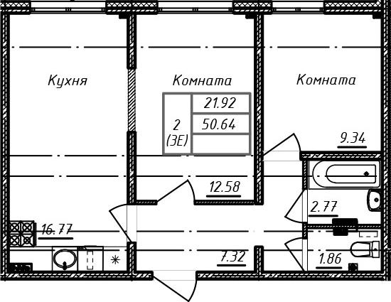 3Е-к.кв, 50.64 м²