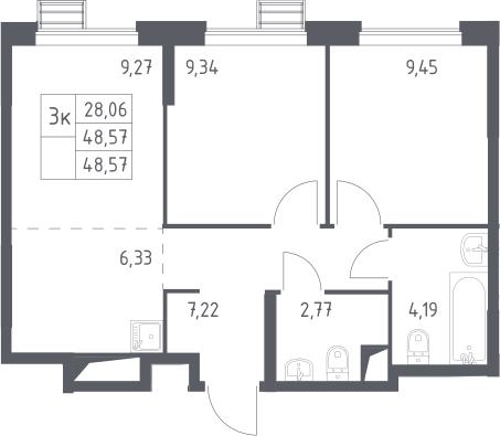 3-к.кв (евро), 48.57 м²