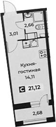 Студия, 21.12 м², 16 этаж – Планировка