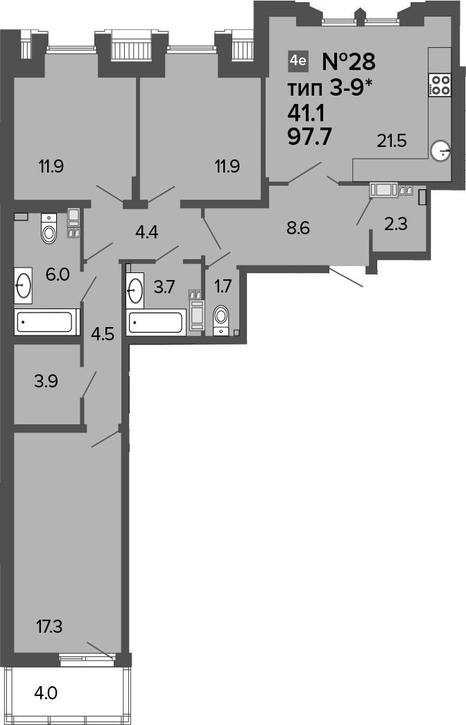 4-к.кв (евро), 101.7 м²