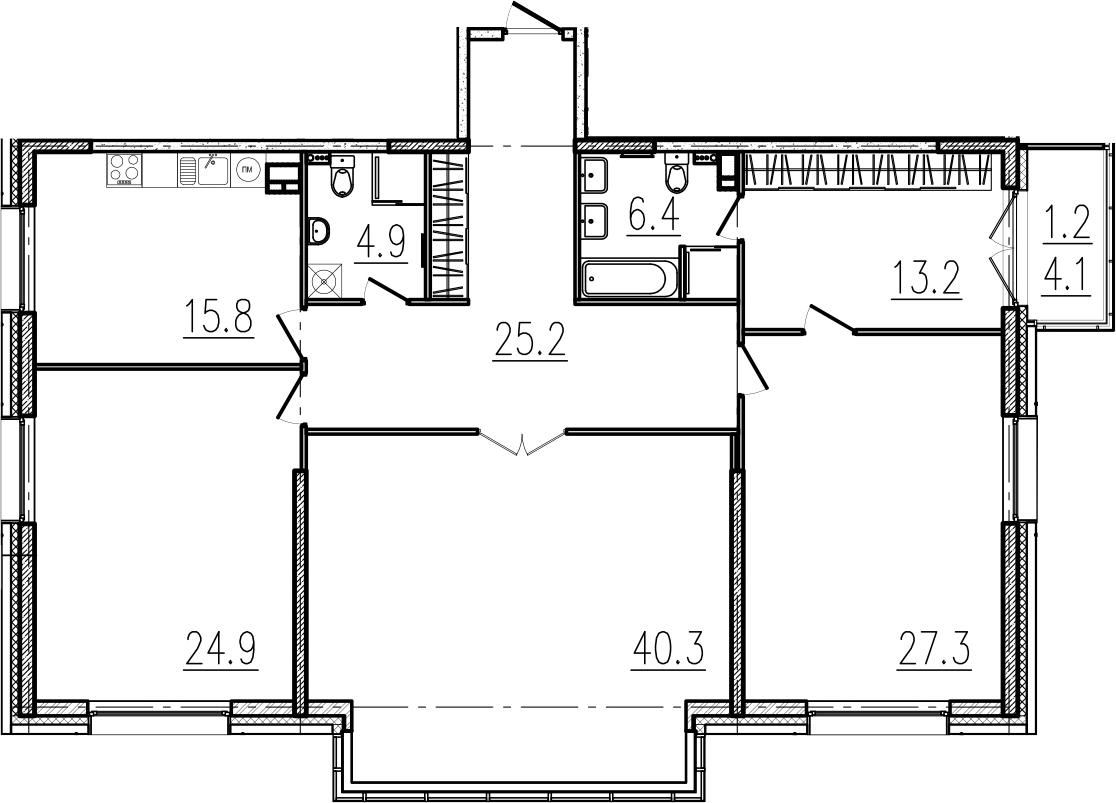 4-к.кв, 163.2 м²