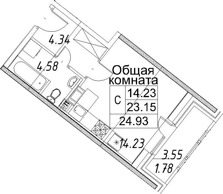 Студия, 26.71 м²