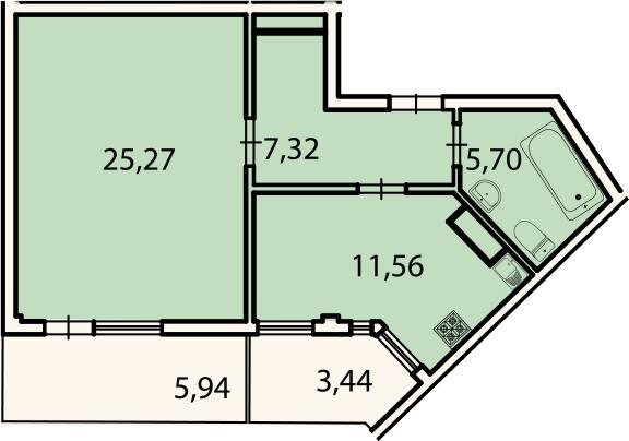1-комнатная, 52.7 м²– 2