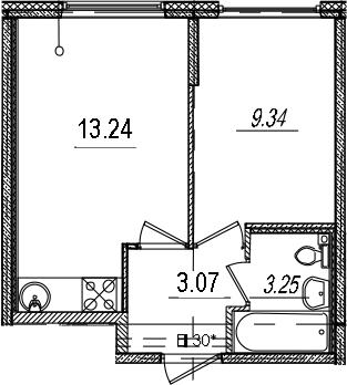 2-к.кв (евро), 28.9 м²