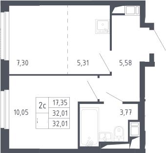 2Е-к.кв, 32.01 м², 10 этаж