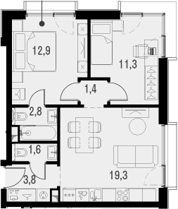 3Е-к.кв, 53.1 м², от 20 этажа