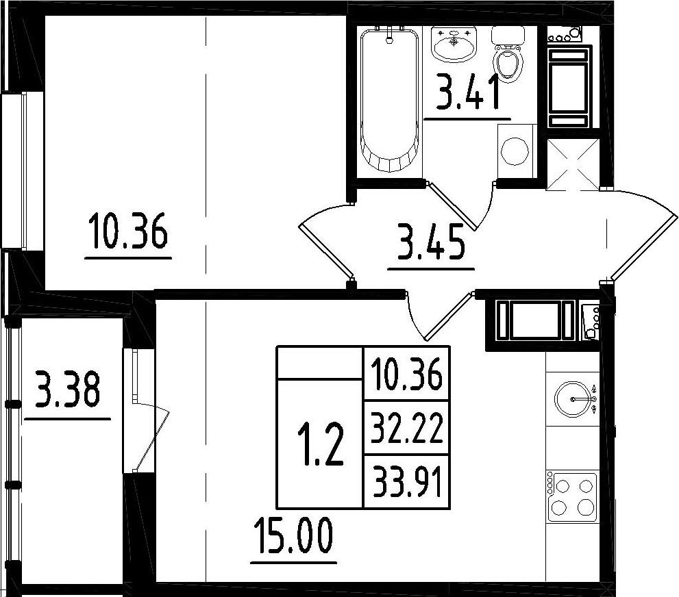 2-к.кв (евро), 35.6 м²