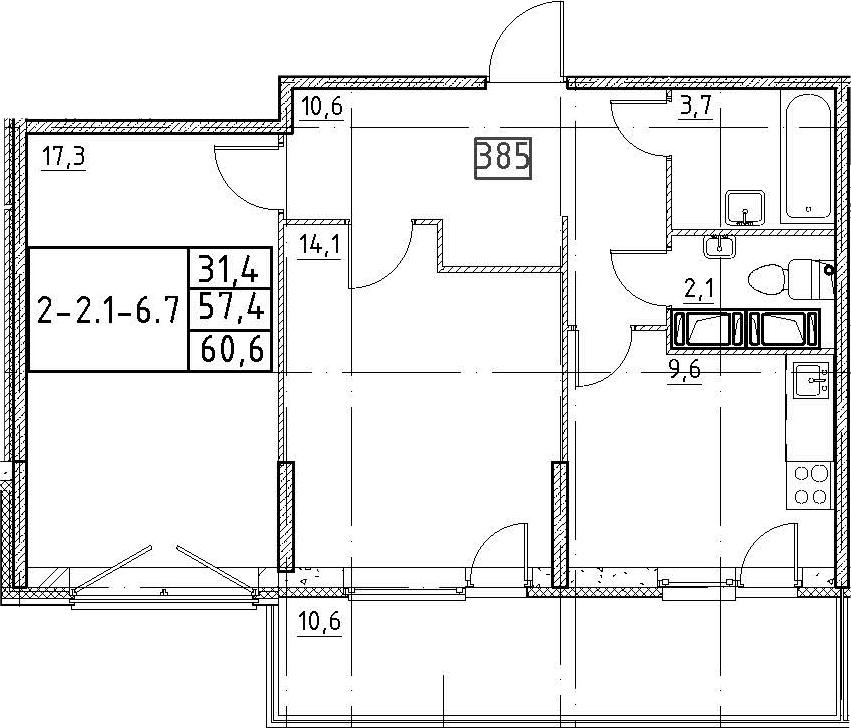 2-к.кв, 60.6 м²