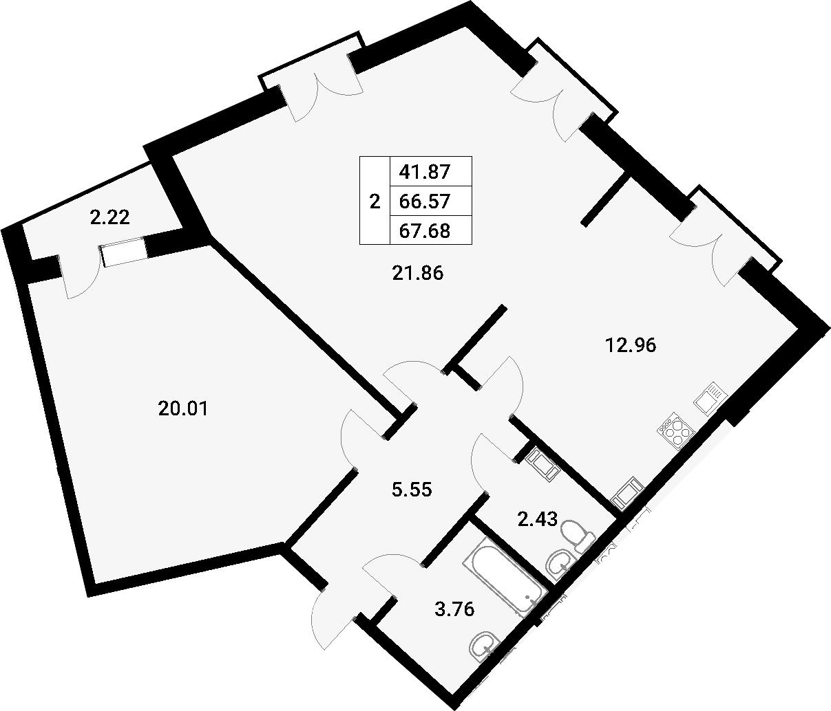 2-к.кв, 69.5 м²