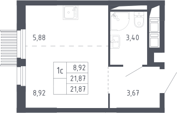 Студия, 21.87 м²– 2