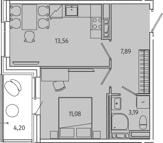 1-комнатная, 37.82 м²– 2