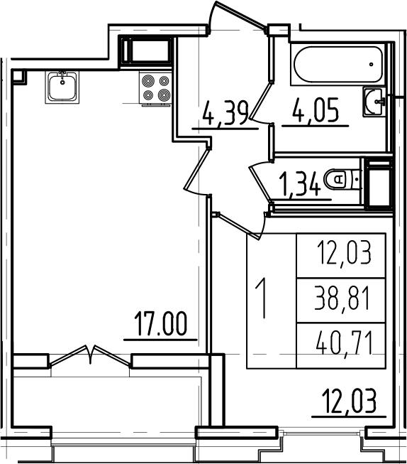 2Е-к.кв, 40.71 м², от 7 этажа
