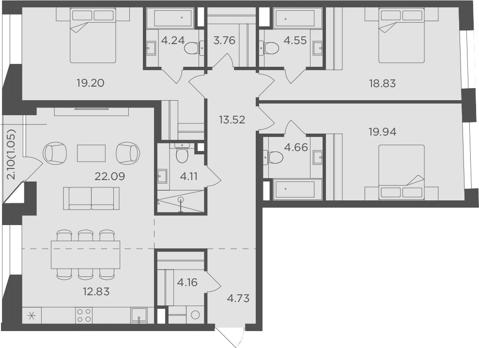 4-к.кв, 138.72 м²