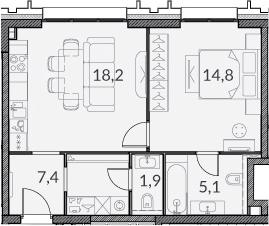 2Е-комнатная, 47.4 м²– 2