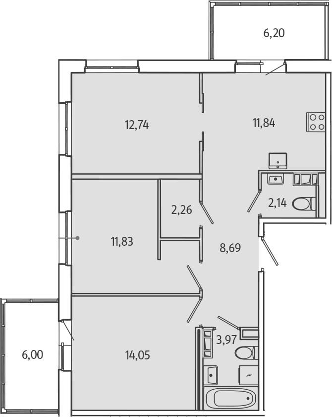 3-к.кв, 71.18 м²