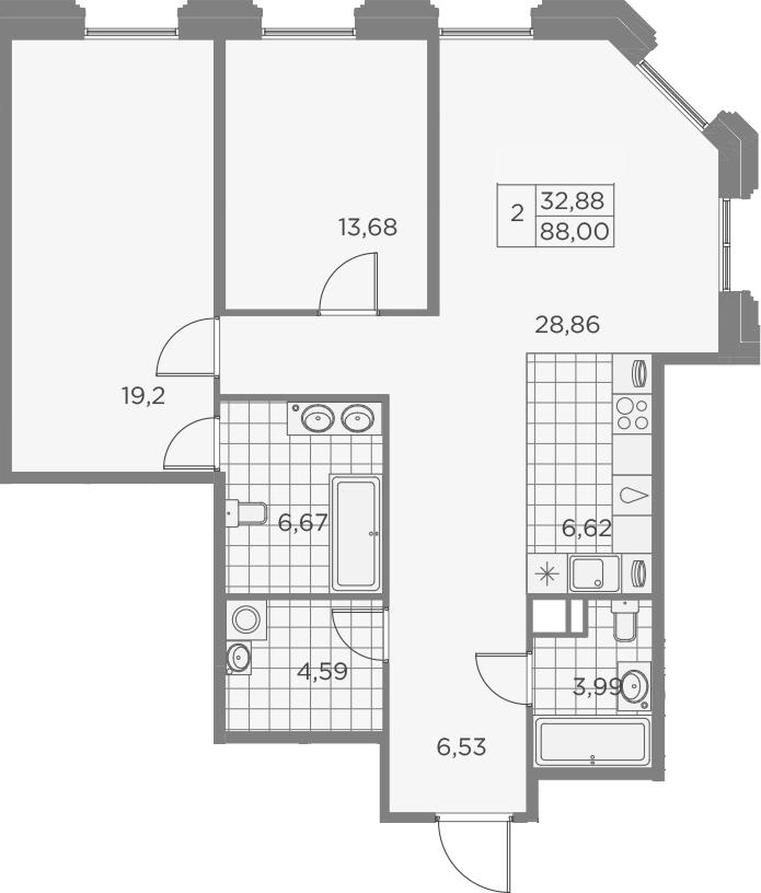 3Е-к.кв, 90.14 м², 6 этаж