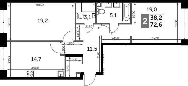 2-к.кв, 72.6 м²