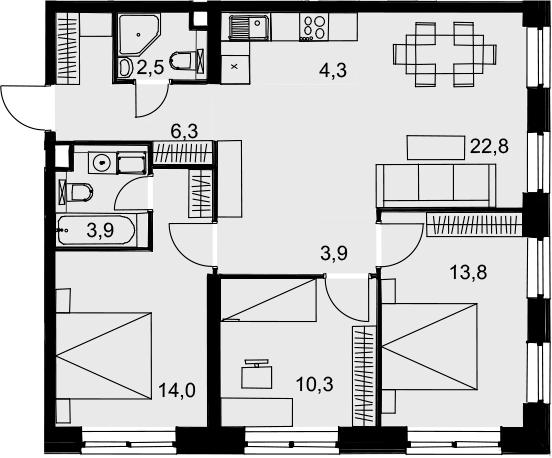 4Е-к.кв, 81.8 м², 3 этаж