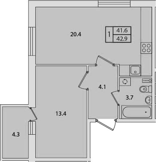 2Е-к.кв, 42.9 м², 2 этаж