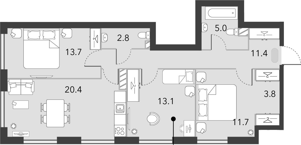4Е-к.кв, 81.9 м², 13 этаж