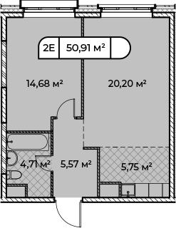 2Е-комнатная, 50.91 м²– 2