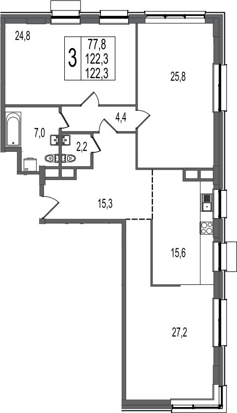 3-комнатная, 122.3 м²– 2