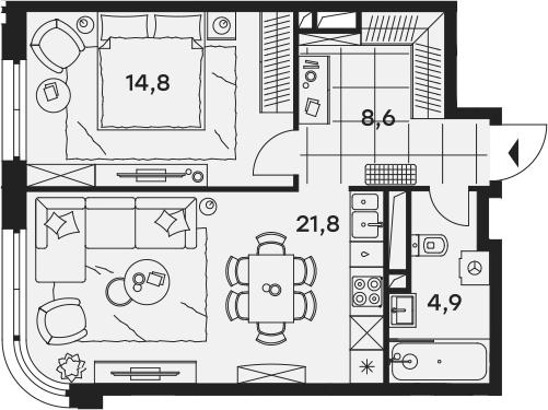 2Е-к.кв, 50.1 м²