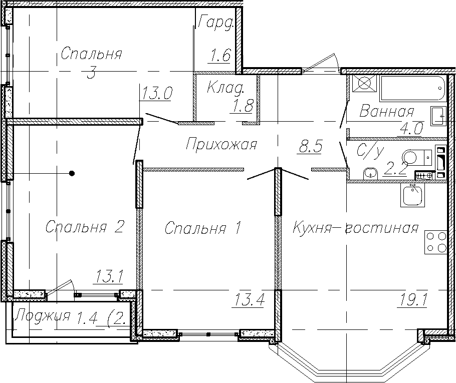 4Е-комнатная, 76.7 м²– 2