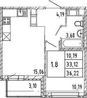 2Е-к.кв, 33.12 м², от 7 этажа