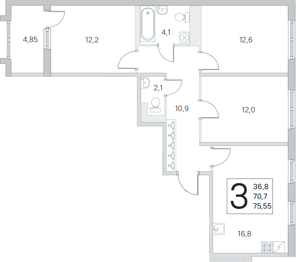 4Е-к.кв, 70.7 м², 5 этаж